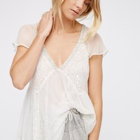 Free People Golden Light Embellished Top