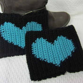 Crochet Boot Cuffs Black with Turquoise Heart Ready to Ship!