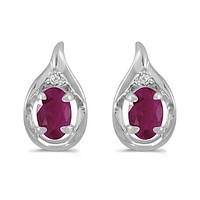 14K White Gold Oval Ruby and Diamond Earrings (1.20ct. Tgw)