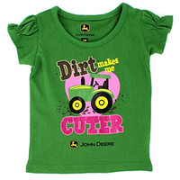 John Deere Toddler Girls Short Sleeve Tee (4T, Green)