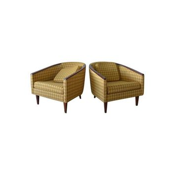 Pre-owned Walnut Houndstooth Barrel Back Chairs - A Pair