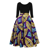 Ivie African Print Midi Circle Skirt (Purple/Gold/Blue)