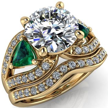 Kassandra Round Moissanite 4 Prong Trillion Emerald Side Split Shank Accent Engagement Ring