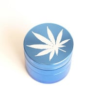 Cannabis Leaf Laser Engraved 4 Part Herb Grinder : Marijuana Leaf Engraved on Bright Blue -Toned Aluminum