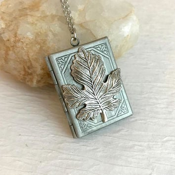 Maple Leaf Book Locket, vintage silver floral rectangle engraved antique pendant picture birthday anniversary romantic gift for her