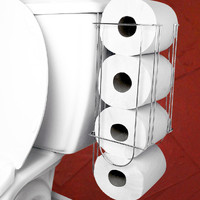 Evelots Side-Of-Tank Toilet Paper Holder Convenient Storage Easy Access-Supports