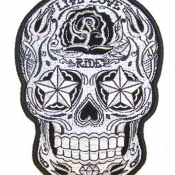 SUGAR SKULL EMBRODIERED PATCH P6193 biker LIVE LOVE RIDE iron on head rose NEW
