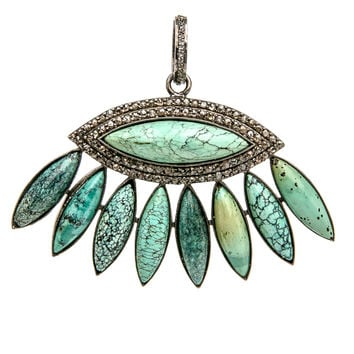 Turquoise Fan with Diamond Pave Pendant