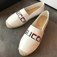 GUCCI New Popular Women Casual Personality Letter Print Leather Flat Shoes White I-TFDXY-XNEDX