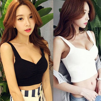 Fashion Women Sexy Slim Solid Bustier Camisoles Tank Crop Top (Size: M, Color: White) = 1932723268
