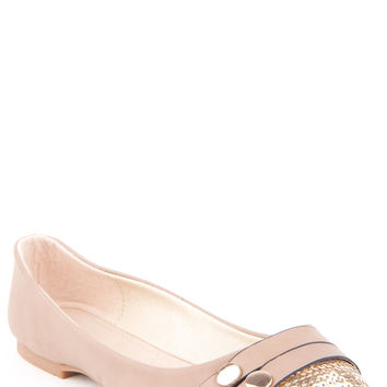 Faux Leather Ballet Pump with Sequin Toe
