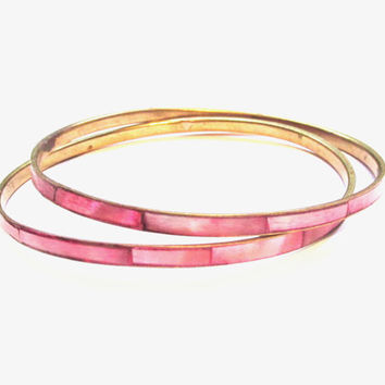 Vintage Pink Mother of Pearl Bracelets, Thin Bangles