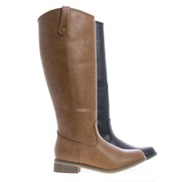 Rider18 Knee High Almond Toe Western Faux Wooden Heel Riding Boots