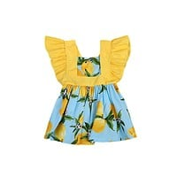 Baby Clothing Kids Girls Patchwork Princess Flying Sleeve Dress Sundress Clothes Casual
