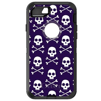 DistinctInk™ OtterBox Defender Series Case for Apple iPhone / Samsung Galaxy / Google Pixel - Purple White Skulls Pattern