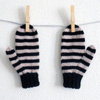 Knit children's mittens with stripes in beige and black, wool gloves for kids