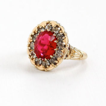 Vintage 10k Yellow Gold Simulated Ruby & Rhinestone Cluster Ring - Art Deco 1940s Size 7 Red and Clear Glass Stone Fine Halo Jewelry