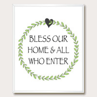 Bless Our Home Printable Art. Printable Wall Art. housewarming. home decor.  Printable Quote. Instant Download