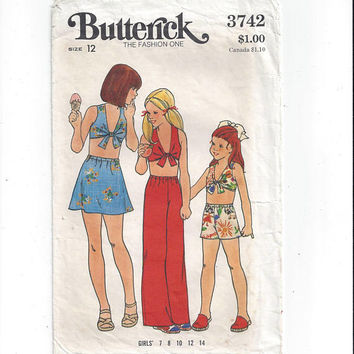 Butterick Pattern 3742 for Girls' Midriff Top, Shorts, Pants, Skirt, Size 12 From 1970s, Summer Pattern Vintage Pattern, Home Sewing Pattern