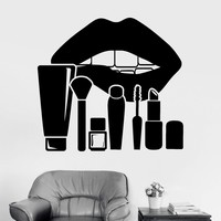 Vinyl Wall Decal Lips Makeup Cosmetics Beauty Salon Stickers Unique Gift (ig3771)