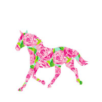 Horse Lilly Pulitzer  Decal, Lilly Inspired Decal Monogram, Lilly Pulitzer Decal, Lilly car decal, Lilly Pulitzer Yeti Custom Decal Horse