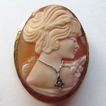 Vintage Habille Cameo Brooch Gold Filled Shell Cameo Pin Vintage Cameo Pendant
