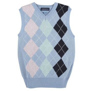 CUPUP9G Blue Argyle Easter Sweater Vest