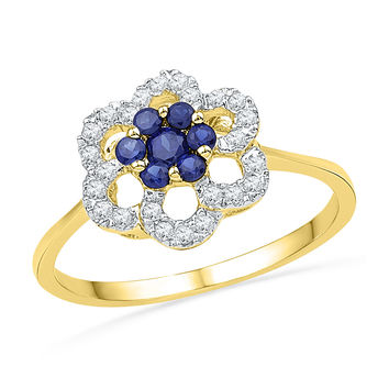 10kt Yellow Gold Womens Round Lab-Created Blue Sapphire & Diamond Flower Cluster Ring 1/8 Cttw 101170