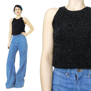1990s Sparkly Black Tank Top Metallic Black Top Raver Grunge Black Top Faux Halter Fuzzy Crop Top Club Wear Black Sleeveless Black Top (S)
