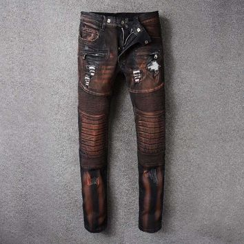 French Style 8802Mens Distressed Embellished Ribbed Stretch Moto Pants Biker Jeans Slim Trousers Size 28 42