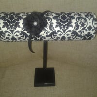 Boutique Headband display black white damask with wood stand. Craft show designs great bedroom decor, photo prop, booth displays,holder,