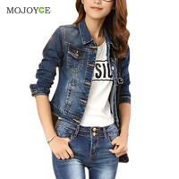 Casual Women Short Jean Jackets Blue Slim Pockets Button Jeans Coat Bomber Jacket Long Sleeve Coat Slim Denim Jacket Outerwear SN9