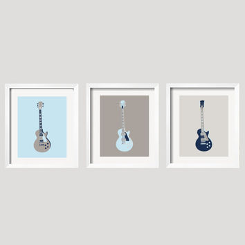 Boy Guitar Art Kids Art Prints Nursery Decor Toddler Decor in Blue, Navy and Gray, Set of 3 UNFRAMED prints,  Yassisplace