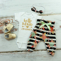 Personalized Hello World Outfit | Black, White, Mint & Blush Floral High Waisted Pants and Knotted Headband