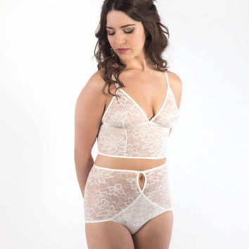 Ivory Lace Lingerie Set. Long Line Bralette and High Waisted Panties / Knickers
