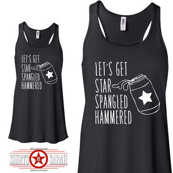 Star Spangled Hammered - Party Drinking Tanks For Women 4th July Top Flowy Tank Ladies