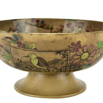 Large Brown Salad Bowl on Foot Antique English circa 1875