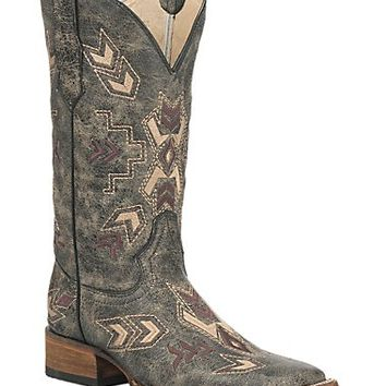Corral Circle G Women's Distressed Black with Arrowhead Embroidery Western Square Toe Boots