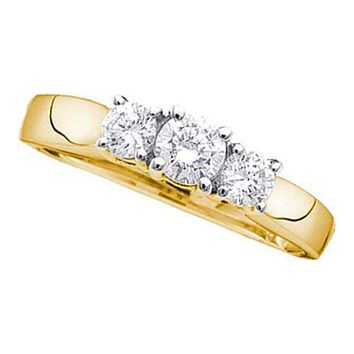 14kt Yellow Gold Women's Round Diamond 3-stone Bridal Wedding Engagement Ring 3/4 Cttw - FREE Shipping (US/CAN)