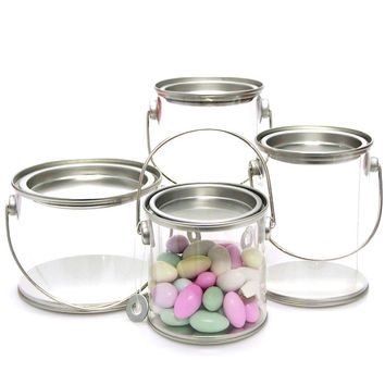 Clear Paint Pails Container Tin Lids Hanging Decor