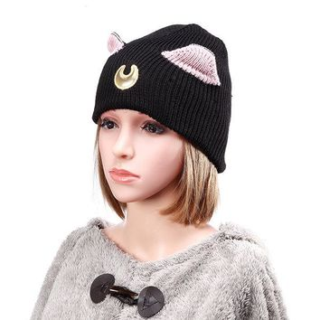 Women Lovely Moon Embroidery Cat Ear Pattern Ski Beanie Cap Warm Braided Crochet Knitting Hat