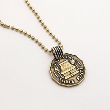 """The Fiji Coin Necklace - 25"""" gold ball chain"""