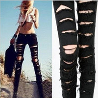 Black Cotton Denim Ripped Punk Cut-out Women Skinny pants Jeans Jeggings Trousers Size SML = 1930111684