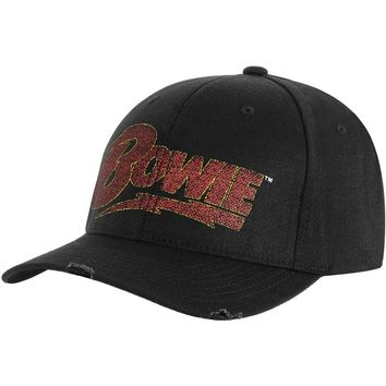 David Bowie Men's  Lightning Logo Baseball Cap Black