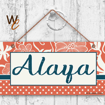 "Nursery Sign, Fun Patterns and Designs, Room Sign, Personalized Sign, Kid's Name, Door Sign, Nursery Art, 5"" x 10"" Sign, Made To Order, ST03"