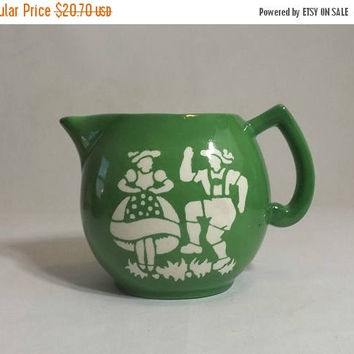 ON SALE - Small Czech Milk Pitcher, Vintage Czechoslovakian Pottery Large Green Creamer, Alpine Dancers Stencil, Folk Art Kitchen Decor