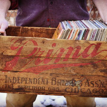 Vintage Wood Crate, Pre-Prohibition Beer Crate, Prima, Independent Brewing Association, Chicago Brewing Company Crate