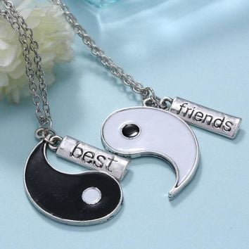 Couple Jewelry Personalized Yin Yang broken necklaces best friend hand stamped pendant two pendants necklace for friends gifts