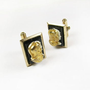 Vintage Cufflinks with Roman Soldier and Emperor Design in Gold Black Ivory, Wedding Cufflinks - Boutons de Manchette.
