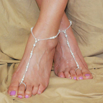 White Barefoot Sandals, Beaded Barefoot Sandals, Bottomless Sandals, Beach Wedding Barefoot Sandals, Barefoot Sandals Wedding, Boho Wedding